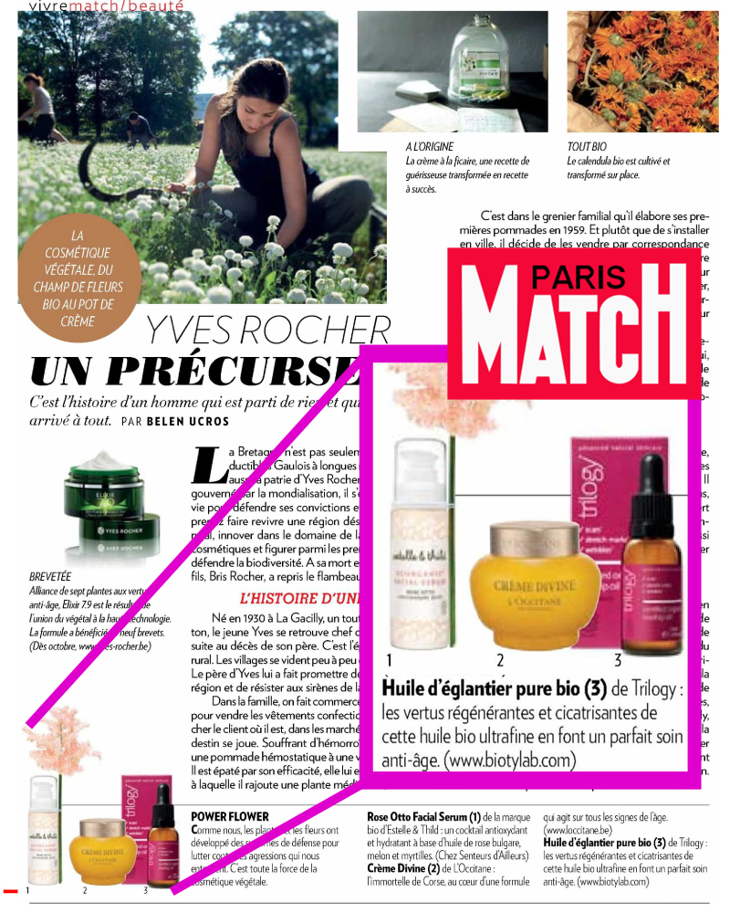 Trilogy rosehip oil Paris Match